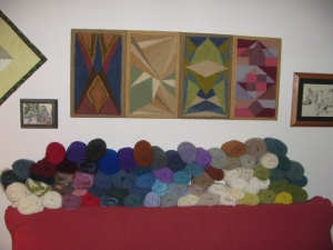 Some of Joan's scarf collection & wall hangings