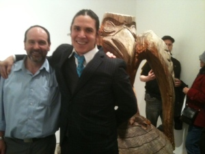 Gallery owner, Craig Sibley with artist Nicholas Galanin