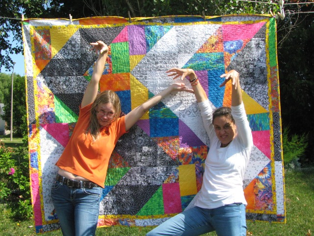 Me and my friend from Grade 5 (and her beautiful quilt-my birthday present!)